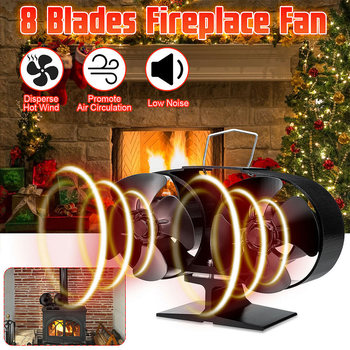 Fireplaces Stove Fan 8 Blades Heat Powered for Large Room Wood Log Fire Burning SDF-SHIP