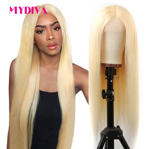 Middle Part Glueless 613 Blonde Lace Front Human Hair Wigs Brazilian Straight Lace Part Wigs Pre Plucked Remy Lace Wig 13*1 150%(China)