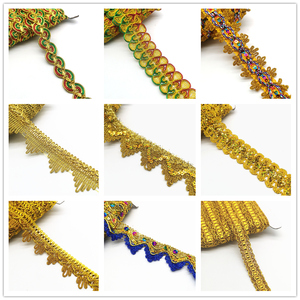 2 yards Gold Silver Lace Ribbon Trims For Stage Performance Party Cosplay Wedding Clothes DIY Sewing Garments Accessories