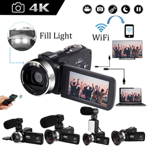 4K Video Camera Camcorder 16X Digital Zoom Handycam 48MP Built-in Fill Light Touch Screen Vlogging For Youbute Photography