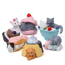 Горячая 6 шт. десерт кошки животное Модель Статуэтка миниатюрный бонсай Фея Украшения Сада