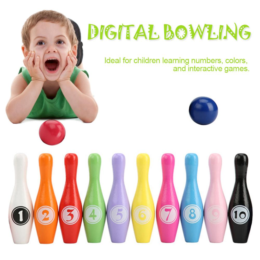 12pcs/set Wooden Color Bowling Set 10 Pins 2 Ball Children Kid Educational Toy Indoor Outdoor Sport Bowling Game Fun Family Game