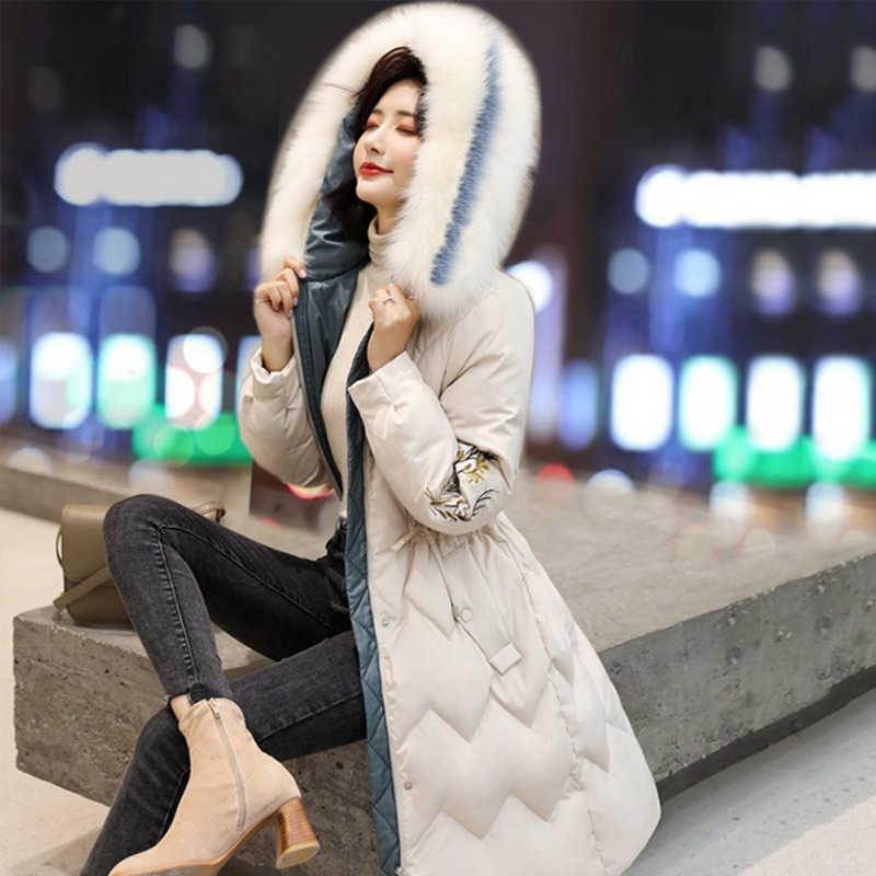 Liva meisje Winterjas Hooded Bontkraag Dikker Warme Katoenen Kleding Jas Bovenkleding Slanke Grote Size Vrouwen Basic Jas
