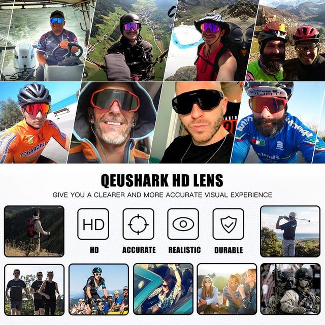 Queshark polarizado óculos de ciclismo das mulheres dos homens uv400 correndo esportes pesca óculos de sol mtb bicicleta com 3 lentes qe42 3