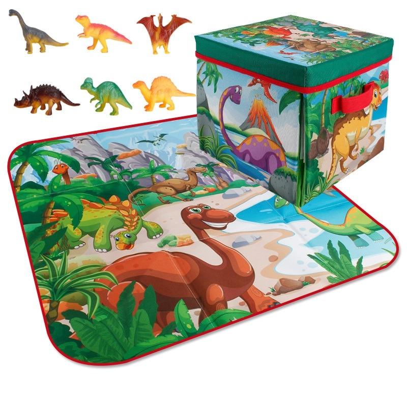 Portable Kids Crawling Carpet Dinosaur Crawling Mat And Storage Box Baby Game Pad Toys Folding Storage Toy Box