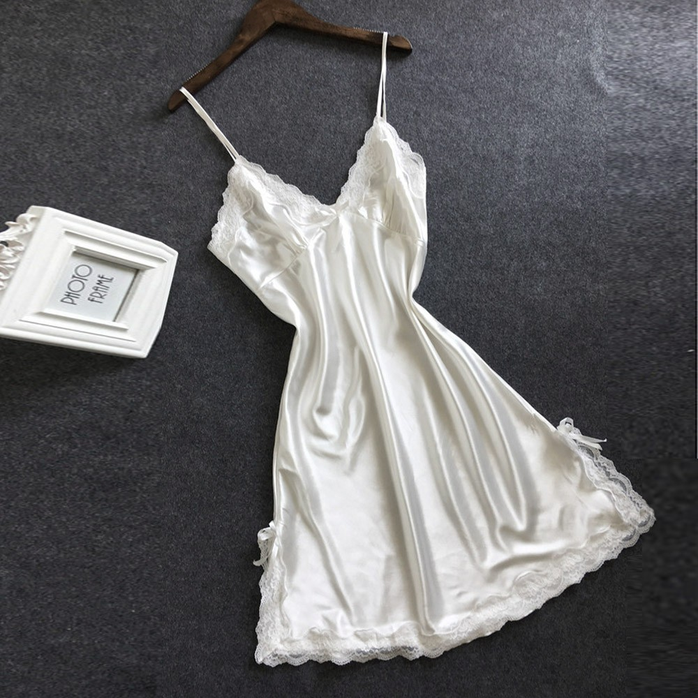 Sexy Nightgown Women Satin Bowknot Lingerie Babydoll V-neck Sleepdress Racy Underwear Koszula Nocna Langerie Hot Erotic Clothing