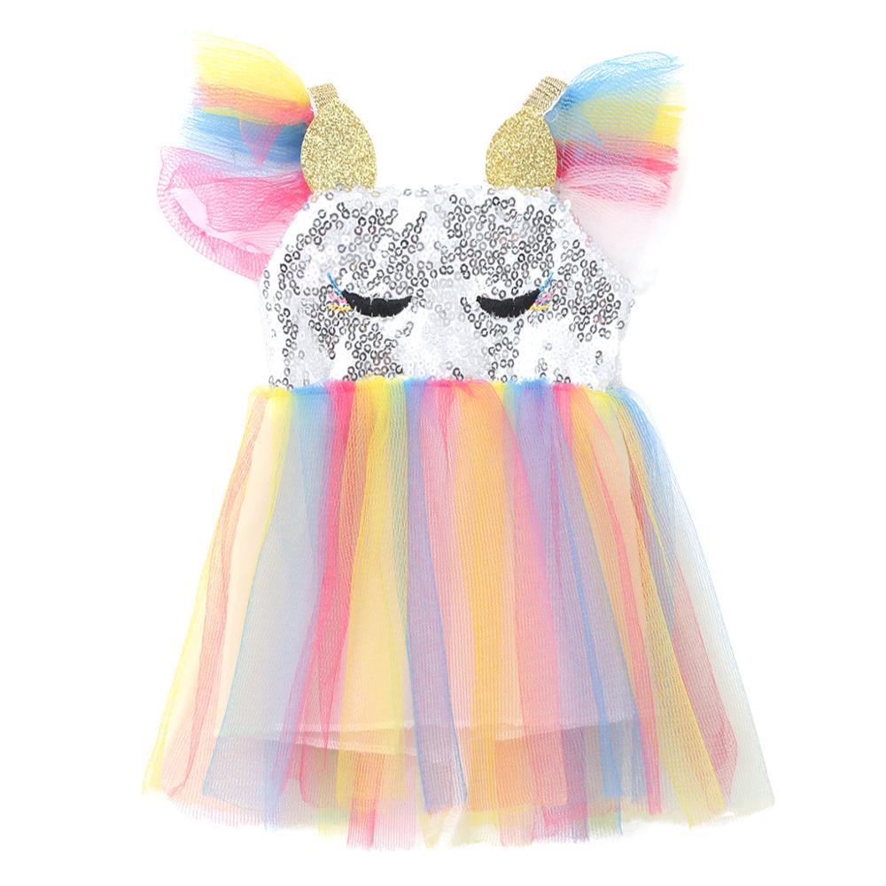 """Shiny Sequins Cartoon Animal Ears/&Horn Tulle Tutu Princess Dress for 18/"""" Doll"""