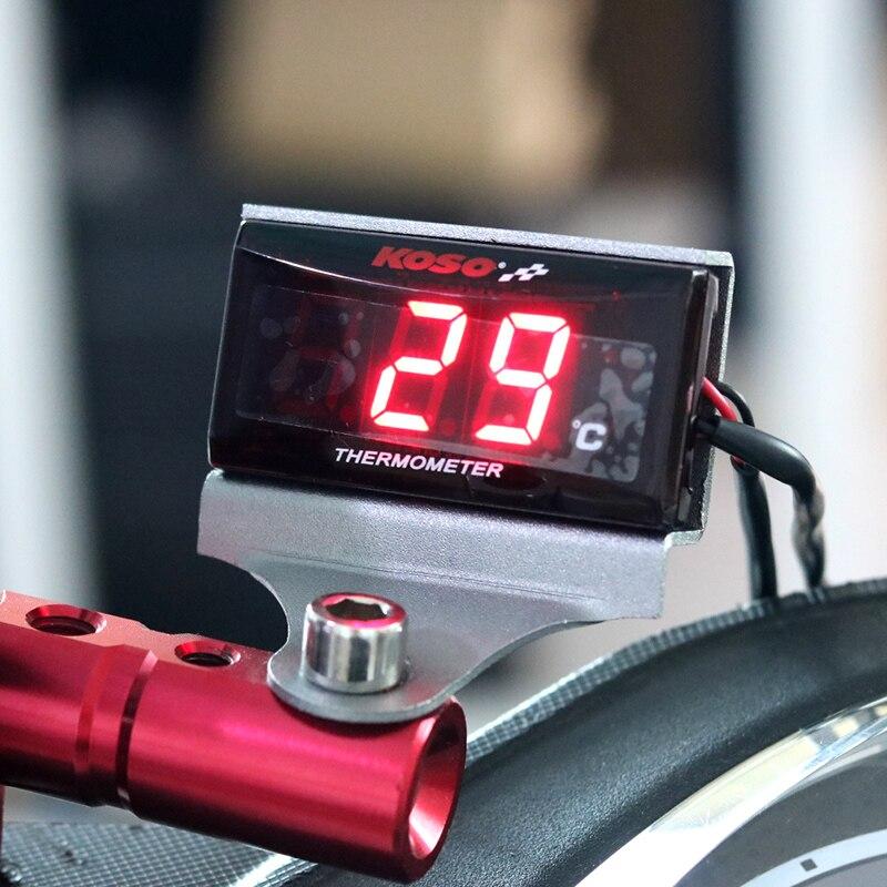 Moto Termometro Digitale Misuratore di Temperatura con Retroilluminazione del Display Moto Termometro Voltmetro Timer