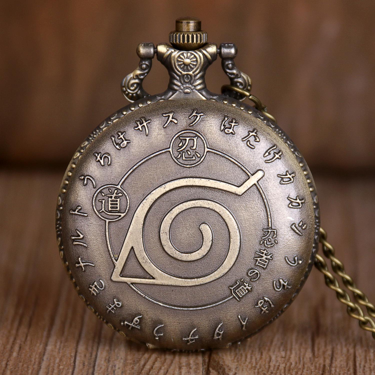 Quartz Pocket Watches Japan Cartoon Naruto Bronze Pocket Watches Pendant Mens Womens Casual Necklace Pednant Chain Gifts