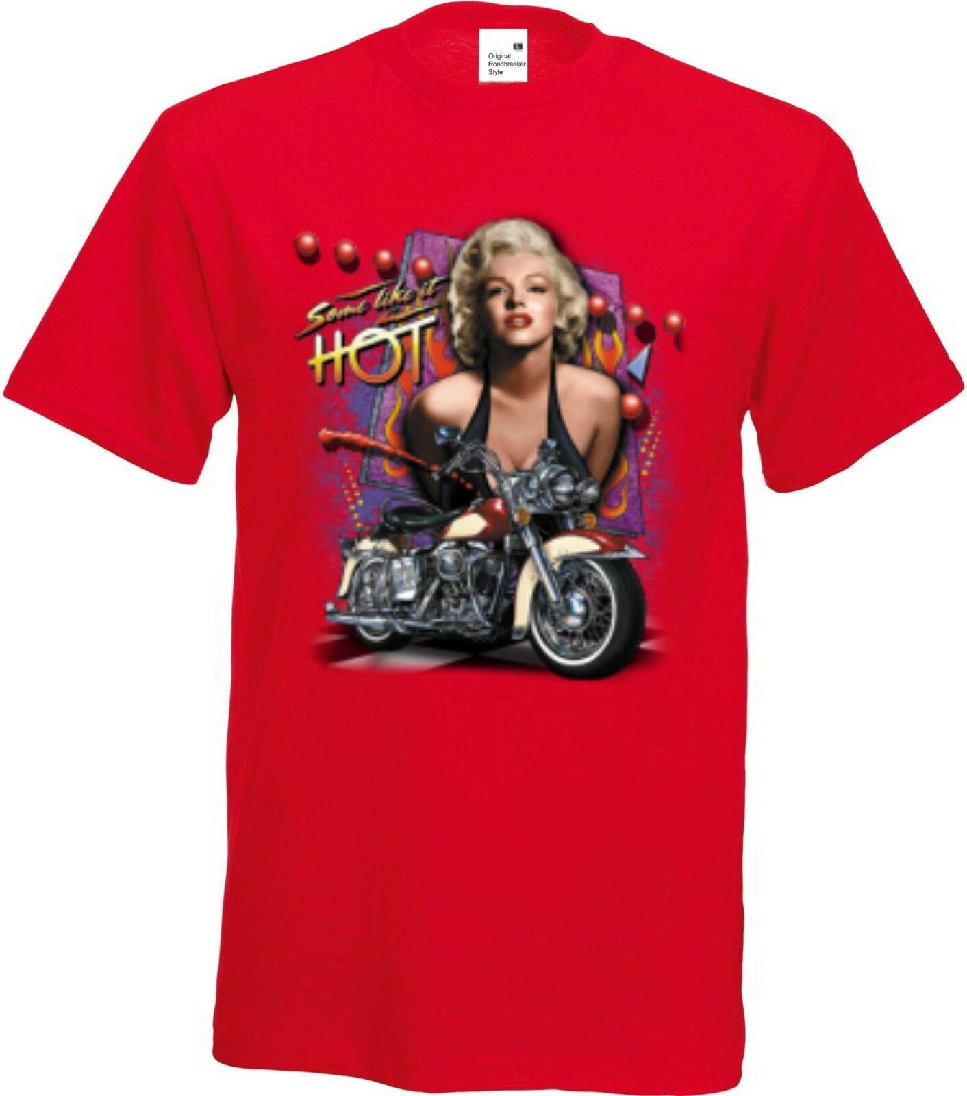 T Shirt Rotton Hd V Twin Biker Monroe Old Schooldruck Modell Marilyn Monroe