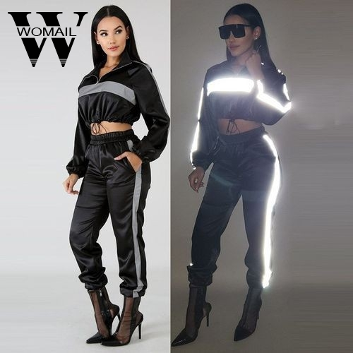Womail Tracksuit Women Tracksuit 2 Piece Set Hip Hop Reflective Crop Top Long Pant Fashion Female Loose Pullover Sports Set 99