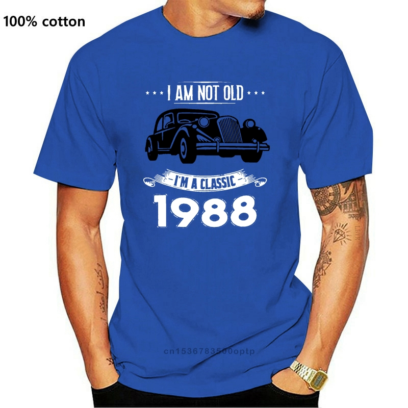 Летняя футболка для мужчин I Am Not Old I M A Classic Born In 1988, смешная классическая мужская футболка с юмором, рубашки