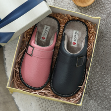 Winter Women Slippers Shoes Home Leather Soft Warm Bedroom House Non-slip Indoor Couples Flats