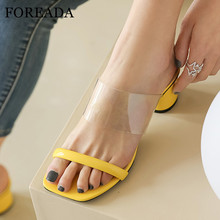 FOREADA Woman Slides Transparent High Heels Square Toe Slippers Block Heel Shoes Casual Female Sandals Summer Yellow Big Size 43