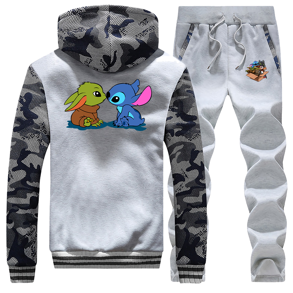 Cute Baby Yoda Stitch Tracksuit Thick Fleece Suit 2020 Spring Hoodie The Mandalorian Star Wars Suits Hoodies Sweatshirt + Pants