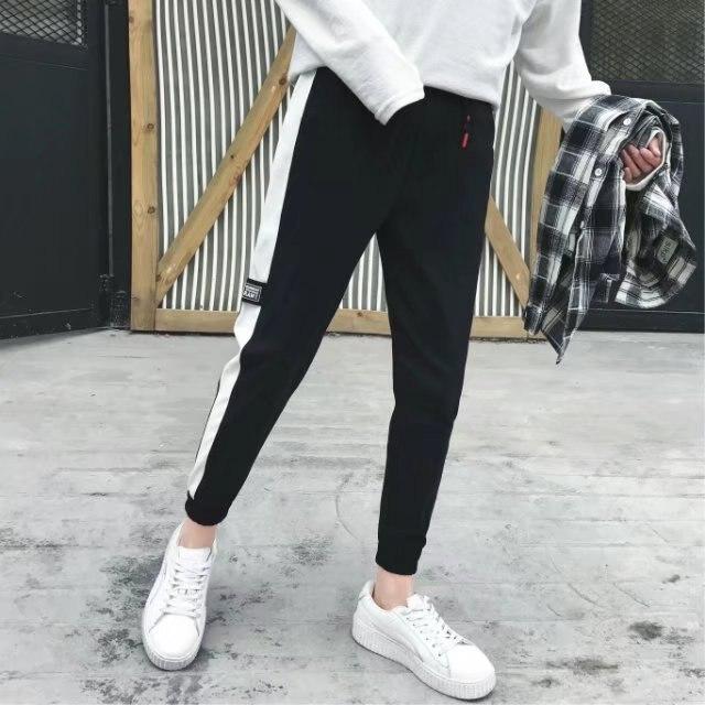 Pants Korean-style Trend Harem Pants Teenager BOY'S Versatile Black Sweatpants Slim Fit Capri Pants Casual Sweatpants