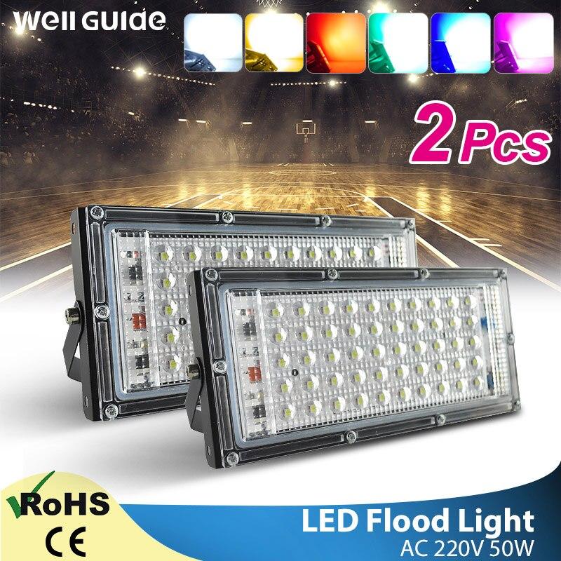2pcs LED Flood Light 50W RGB Outdoor Floodlight Led Lamp AC 220V 240V COB Chip LED Street Lamp Waterproof IP65 Outdoor Lighting