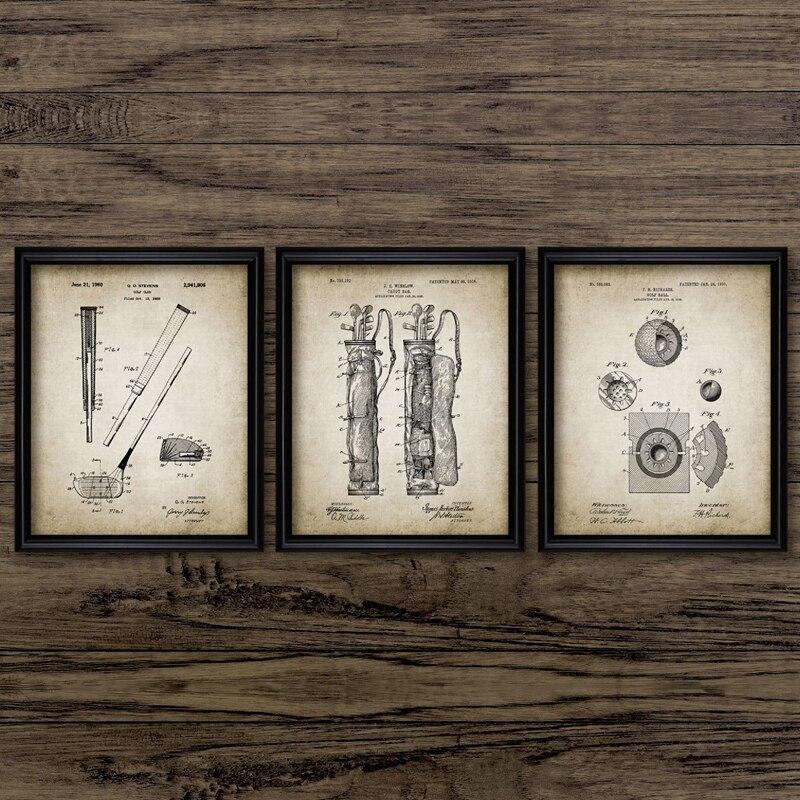 Pósteres e impresiones Vintage de patente de Golf, equipo de Golf, Idea de regalo, imágenes artísticas de pared, pintura en lienzo, decoración de Casa de club de Golf
