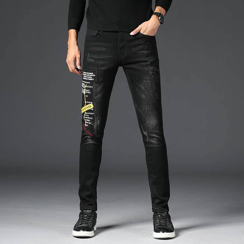 2019 Men Embroidered Printed Jeans Men's Popular Brand Spring And Autumn Pants MEN'S Black Slim Fit Casual Skinny Trend