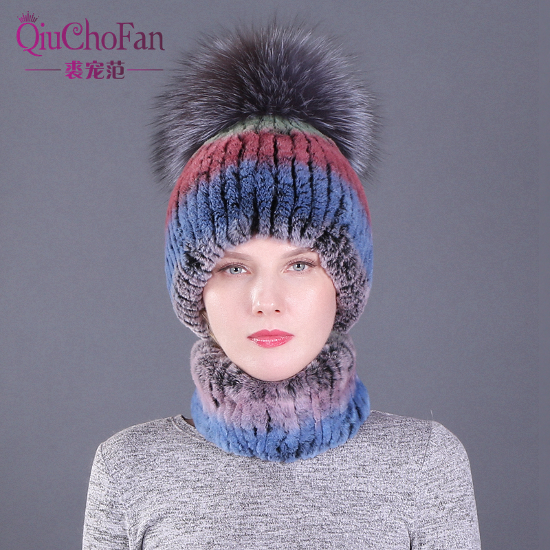New Real Rabbit Fur Hat Scarf Set for Women Temperament Winter Accessories Fox Fur Ball Cute Thicken Hat and Scarf