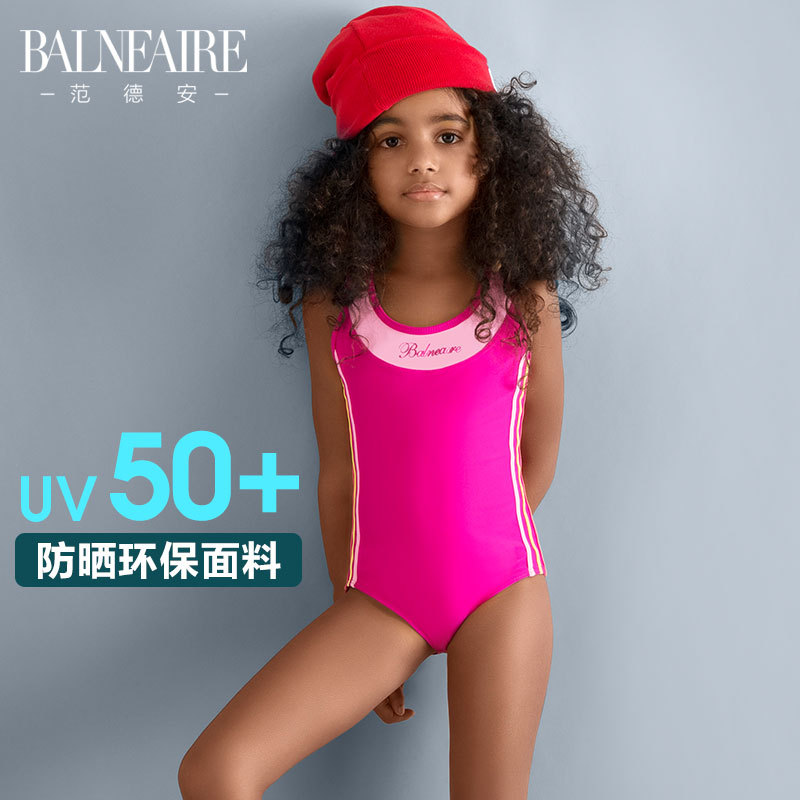 Balneaire Girls KID'S Swimwear GIRL'S Bathing Suit Industry Siamese Swimsuit Large And Medium-sized Child Sun-resistant Training