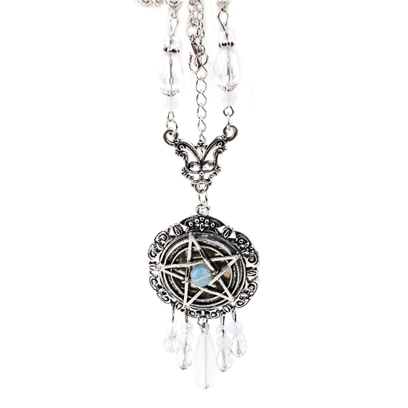 Gothic Five-Pointed Star Start Necklace Women Crystal Beads Long Pendant Chain Choker Initial Statement Collar Fashion Jewelry