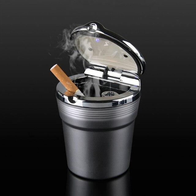 Avec Led lumières voiture Logo créatif personnalité cendrier créatif cigarette poubelle pour voiture scania SAAB porte-clés sonett 9000 9-7