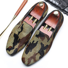 2019 New Arrival Mens Slip On Loafers Shoes Camouflage Genuine Cow Leather Oxford Footwear Italian