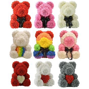 Dropshiping Luxury Rose Bear Heart Teddy Bear Rose Artificial PE Flowers Wedding Birthday Valentines Christmas Gifts for Women