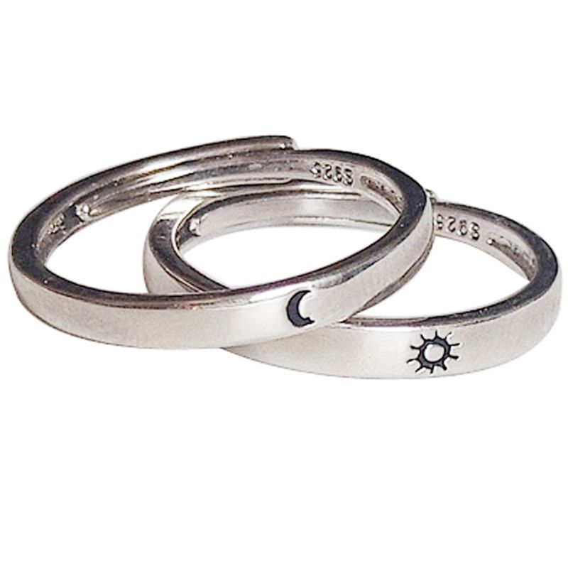 2 Pcs Sun and Moon Lover Couple Rings Set Promise Wedding Bands for Him and Her Jewerly Gift