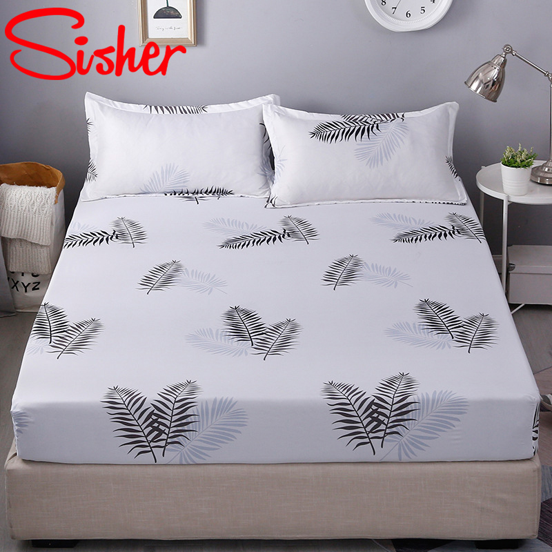 Sisher Mattress Cover Black Leaf Pattern Bedspread Cartoon Nordic Modern Comfortable Breathable Soft Fitted Bed Linens Sheet