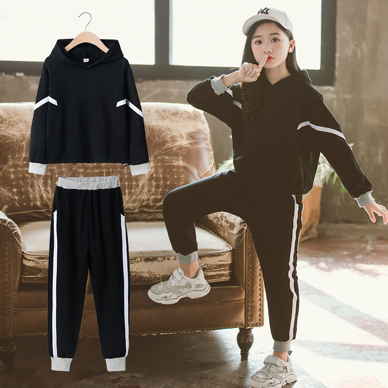 Clothes For Girls Sets Kids Track Pants + Hooded Top Two Piece Set Children Spring Autumn Suit Girls Outfits 8 10 12 14 Years