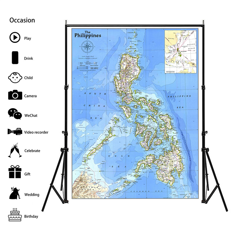 100x150cm Philippines 1986 World Map Home Decoration Antique Poster Wall Chart Paper Matte Kraft Paper Map Of World No Frame