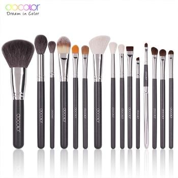 Docolor 15pc Makeup Brushes Natural Goat Hair Foundation Powder Eye Shadow Blush Blending Make Up Brush Cosmetics Brush Set цена 2017