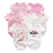 2019 Baby Girl Clothes 7PCS/Lot Cotton Unisex 0 12M Newbron Summer Baby Romper Baby Boy Clothes Short Sleeve Roupa de bebe