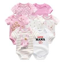 Vêtements dété pour bébés filles, 7 pièces/lot, barboteuse en coton unisexe de 0 à 12 mois, barboteuse dété pour bébés et garçons, vêtements à manches courtes, 2019