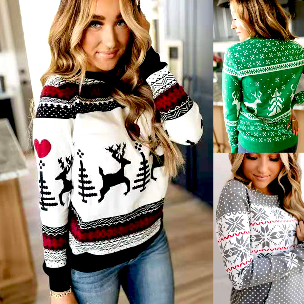 New 2019 Christmas Hoodies For Women Long Sleeve O-neck Casual Pullover Sweatshirt With Pocket Plus Size