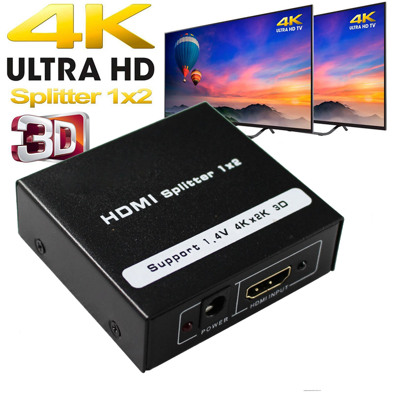 HDMI Splitter 1x2 HDMI 1.4 Converter 1080P 1 In 2 Out Switcher Support 1.4V 4K 2K 3D For HDTV STB HDMI Splitter 2 Ports