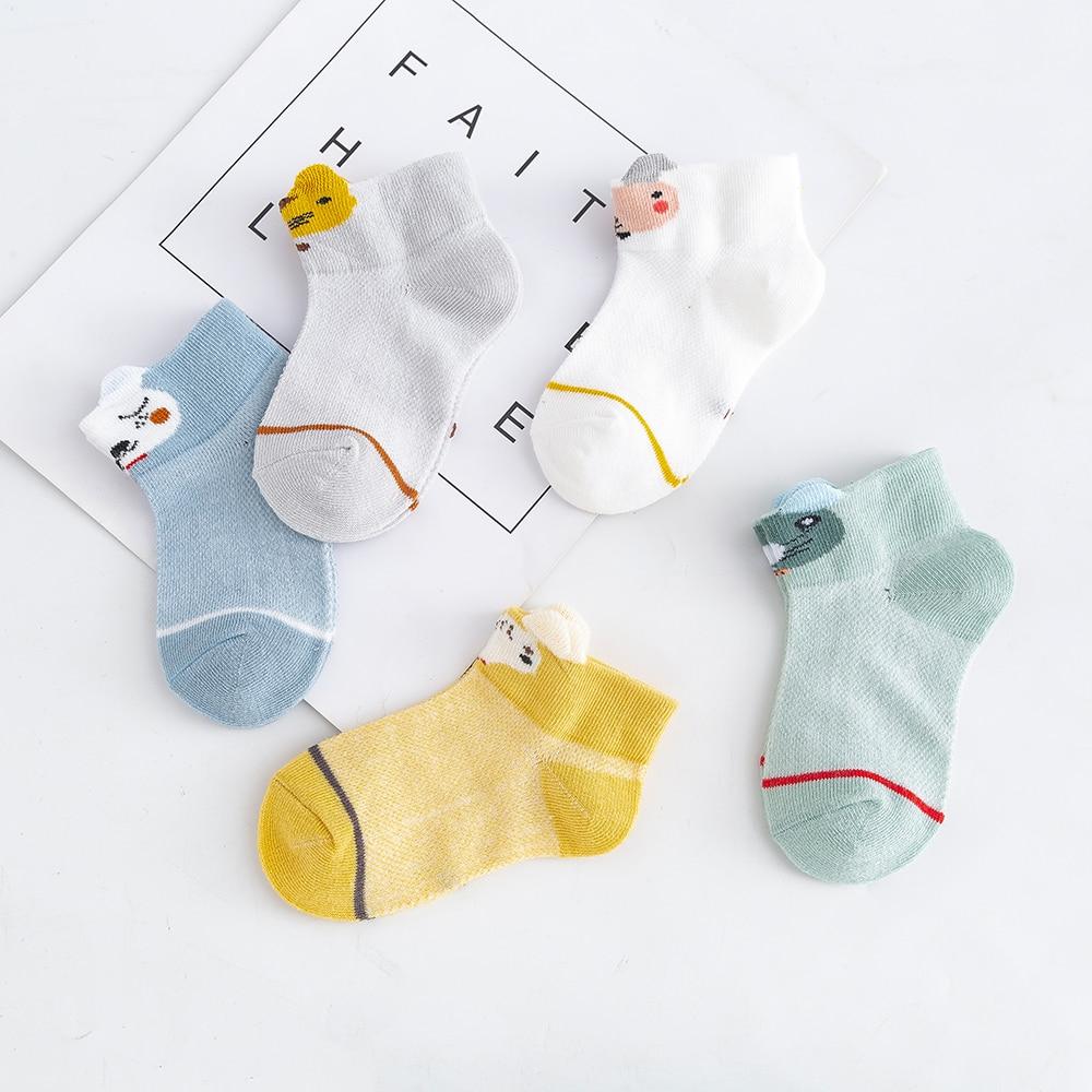 5Pairs/lot 2-9Y Kids Socks Summer Cotton 3D Cartoon Animal Kids Socks Girls Mesh Cute Newborn Boy Toddler Baby Socks 3