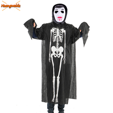 Ghost Skeleton Costume Scary Halloween Costumes For Kids Robe Horror Vampire Zombie Skull Children Robe Devil Halloween Dress 2019 halloween costumes for women vampire zombie devil party performance dress veil set halloween scary cosplay outfit set
