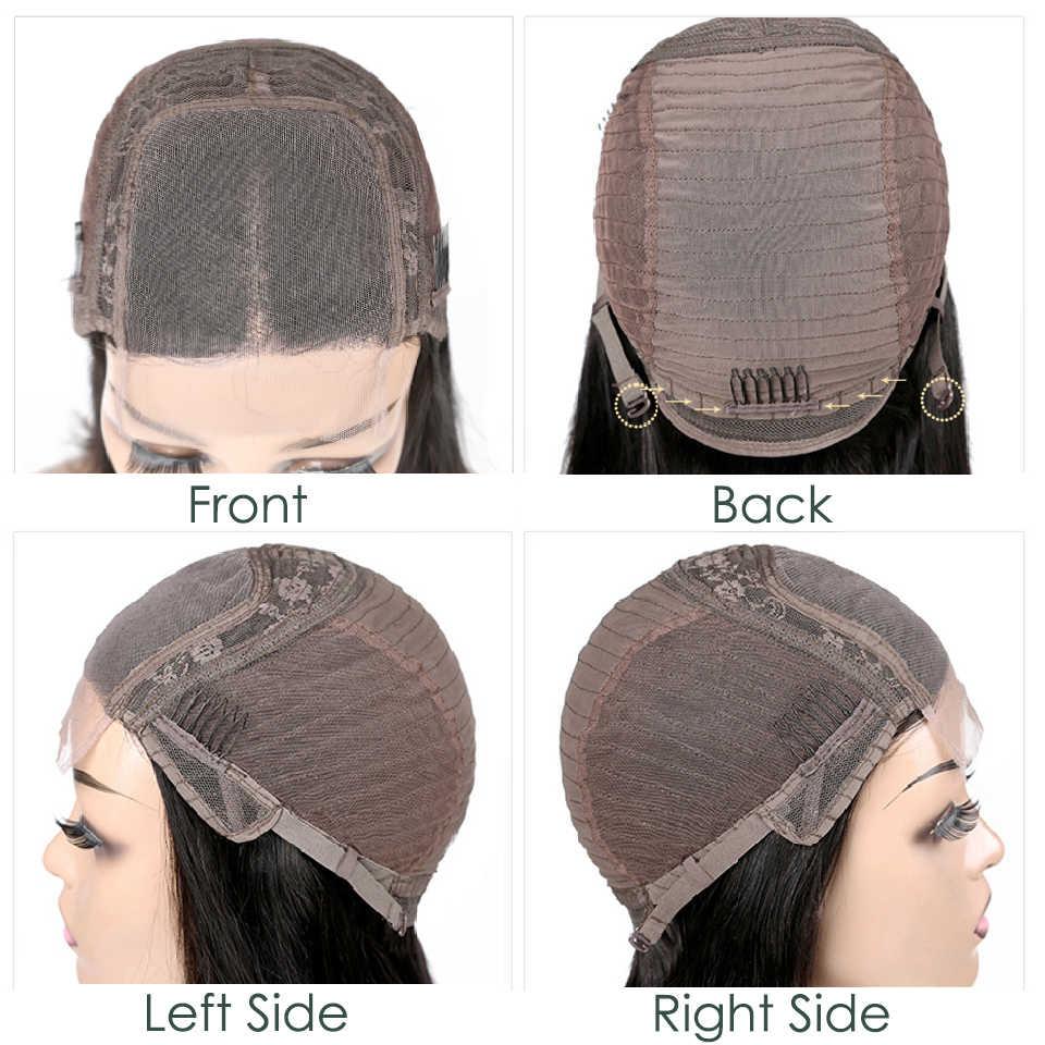 """Aircabin Glueless 4x4 zamknięcie koronki peruka brazylijski ludzki włos 8 """"-16"""" Cal peruka 130% gęstości średni brąz szwajcarska peruka typu lace nie Remy"""