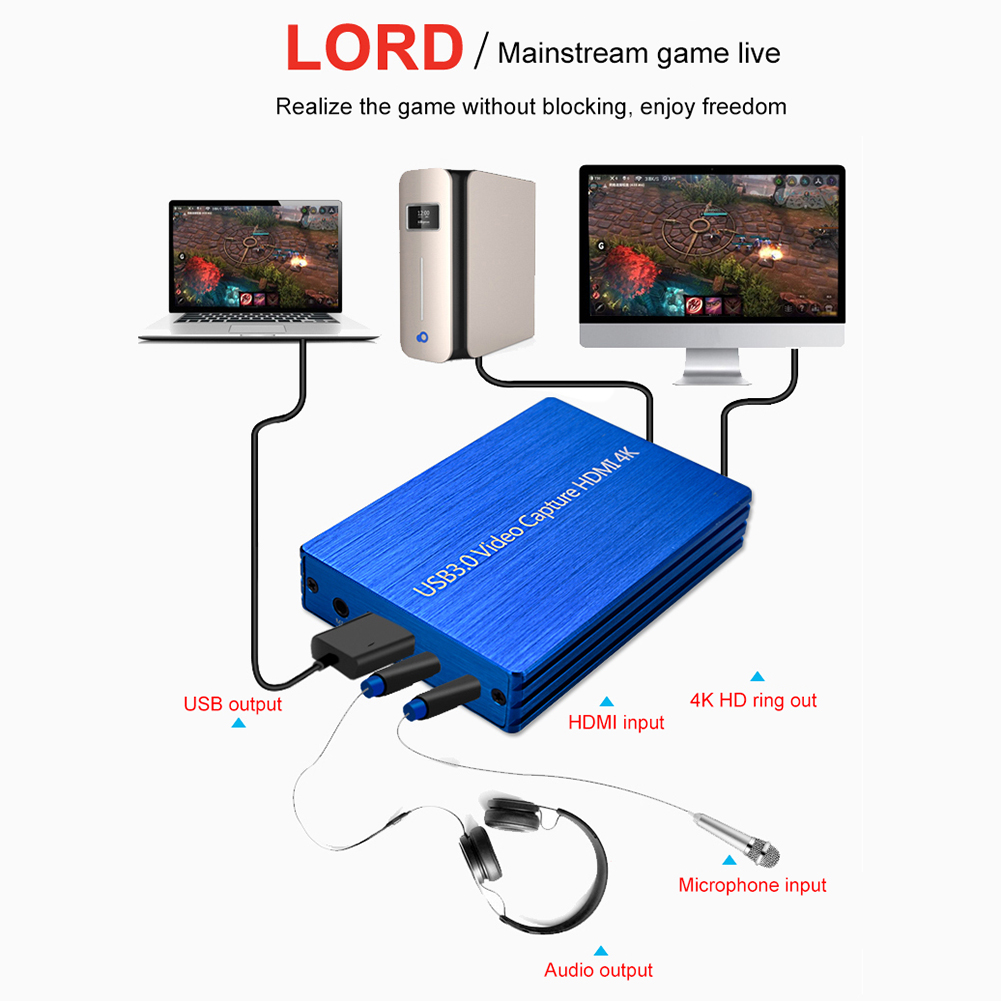 4K <font><b>HDMI</b></font> <font><b>Capture</b></font> <font><b>Card</b></font> Video <font><b>Capture</b></font> Device <font><b>HDMI</b></font> to <font><b>USB</b></font> <font><b>3.0</b></font> Game Broadcast Microphone HD 1080p Live Streaming Video Record <font><b>Capture</b></font> image