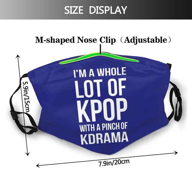 Kpop Lot Mouth Face Mask A LOT OF KPOP BLUE Facial Mask with Filters Cool for Adult Polyester Mask 1