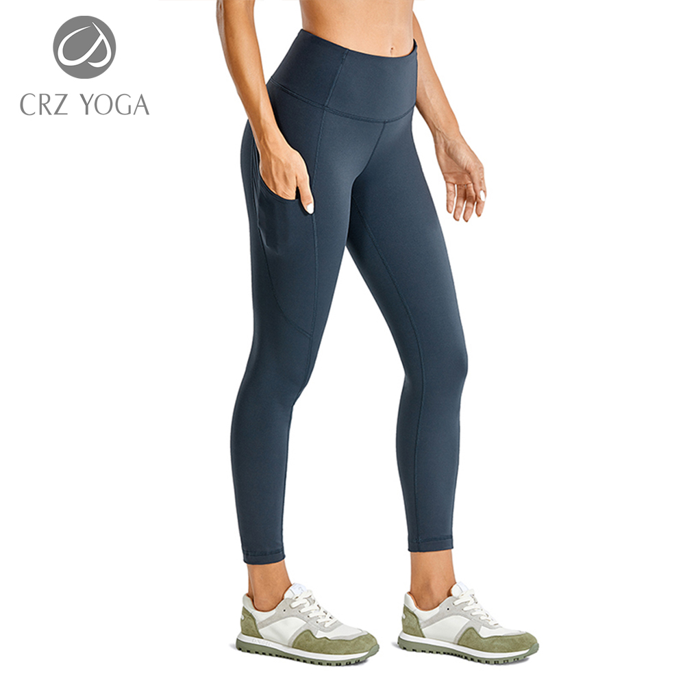 CRZ YOGA Women's Light Fleece Leggings High Waisted Squat Proof Workout 7/8 Yoga Pants with Pockets -25 inches