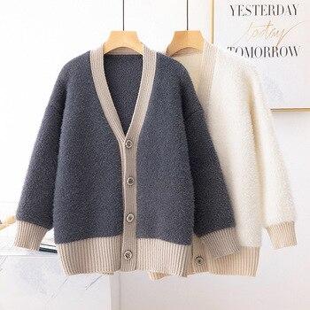 Korean Women Cardigans Warm Winter Sweater Black Sweater Fleece Lazy ofa Sweaters V-neck Single Breasted Loose Sweater фото