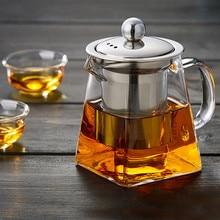 Tenske термостойкие Кунг Фу Стекло Чай горшок с фильтр для заварки Чай горшок 350 мл утолщение площадь с отрывными листами чайник с цветами