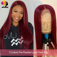 Remyblue 99J Red Burgundy Lace Front Human Hair Wigs for Black Straight Hair Lace Front Wig Ombre Peruvian Remy Human Hair Wigs