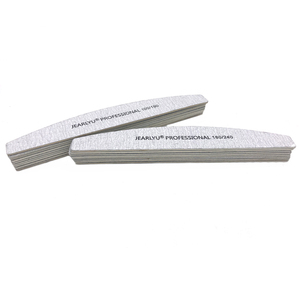 Image 4 - 100Pcs/lot Professional Nail File 100/180/240 DIY Washable Wooden Grit Grey Manicure Sanding Tool Art Curved Moon Files Set Lima
