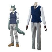 Anime Beastars Cosplay Costumes Grey Wolf Legoshi Uniform Carnivore Legosi Cosplay Costume Cherryton Academy Blue Suit