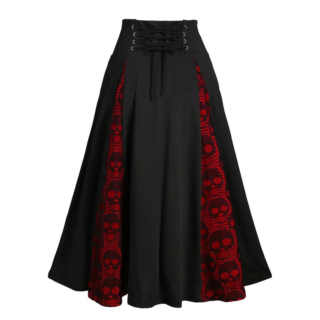 Jaycosin High Waist Loose A line Side Bandage Midi Long Black Skirt Korean Hip Hop Streetwear Harajuku Oversize Gothic Clothes